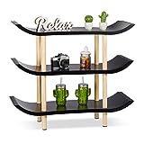 Relaxdays Standregal mit 3 Ebenen, Dekoregal mit Asiatischem Flair, 4-Füßiges Holzregal, Holzdekor, Schwarz, 71 x 83 x 32 cm