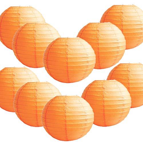 TtS 10 Stück Papier Laterne Lampion Rund Lampenschirm Hochtzeit Party Dekoration | laterne-orange, 35cm |