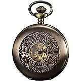 KS Reloj de Bolsillo Hombre Mecánico de Cuerda Manual, Caja Bronce KSP046