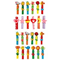 Set Of 24 Coloured Animal Insect Clothes Washing Line Pegs