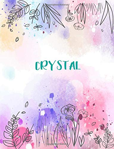 Crystal: 8.5x11 inches 110 Lined Pages 55 Sheet Peony Floral in Dream Design for Woman, girl, school, college with Lettering Name,Crystal (Crystal Cuties)