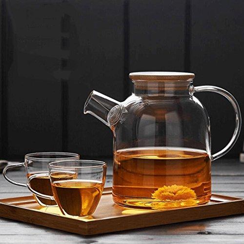 Théière en Verre Résistant à la Chaleur Filtre Thé Bouilloire en Verre résistant à la Chaleur Set 2 Tasses + Assiette en Bambou GAODUZI (Capacité : 1600ml)