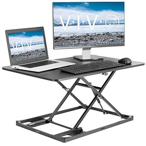 Vivo Ultra-Slim Tischaufsatz für Monitor oder Laptop (höhenverstellbar, 78,7 cm), pneumatische Feder, kompakter Sitzständer, Desktop-Konverter für Monitor oder Laptop, DESK-V000I -