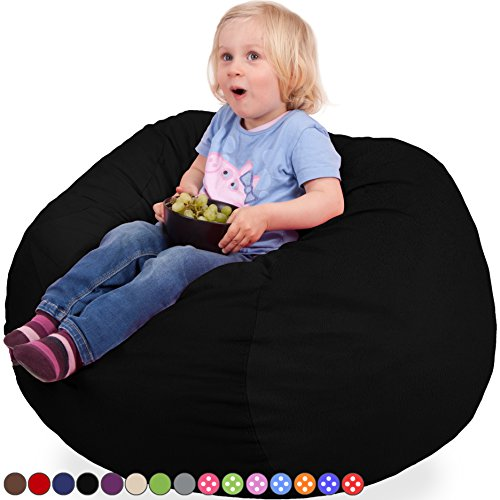 Oversized Bean Bag Chair with Premium Velour Cover in Black - Machine Washable Big Soft Comfort Cover & Memory Foam Filler - Cozy Lounger & Bed - Kids & Teens Love This Huge Sack - Panda Sleep Furniture