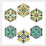 Adhesivo para Azulejos 20 X 23 cm X 6 unids Estilo Marroquí Etiqueta de la pared Hogar Sala de estar Dormitorio Cocina Decoración Etiqueta del piso Autoadhesiva Herramienta Sastrería