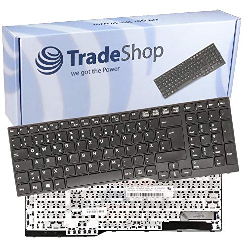 Trade-Shop Premium Original Laptop Tastatur mit schwarzem Rahmen QWERTZ Deutsch für Fujitsu Lifebook E753 E754 E756 ersetzt CP691002-XX MP-12S76003D85W