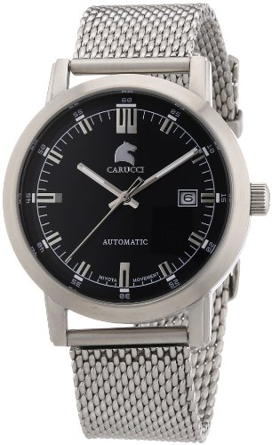 Carucci Watches Men's Automatic Watch Messina CA2195ST-BK with Leather Strap