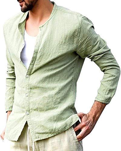Shallgood camicia uomo coreana manica lunga tg. m, l, xl, xxl e 3xl primavera/estate 2018 z verde large