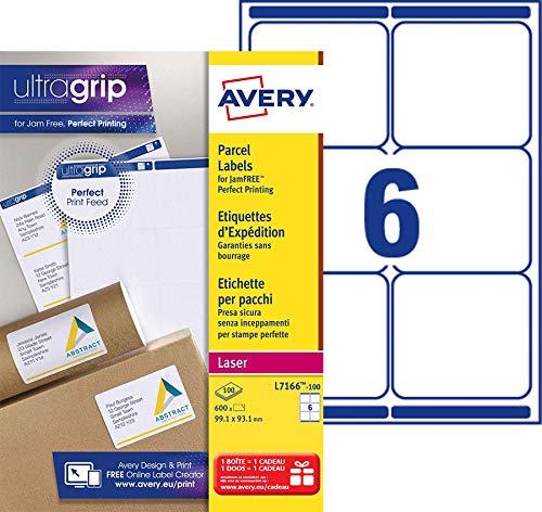 Avery 600 Etiquettes Autocollantes (6 par Feuille) - 99,1x93,1mm - Impression Laser - Blanc - L7166