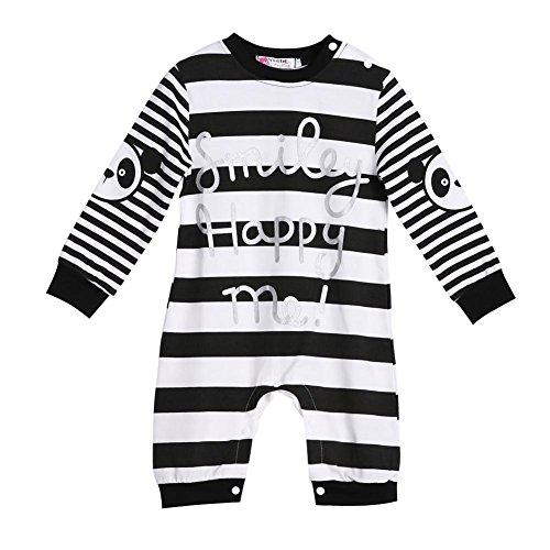 Kids Baby Jungen Lange Ärmel Streifen Strampelanzug Body Jumpsuit Kleidung Outfit