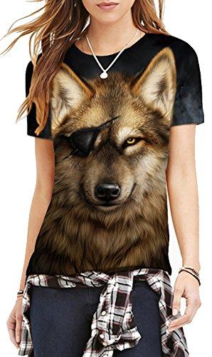 TDOLAH Damen T-Shirt 3D Print Shirt Tee Paar Kostüm Fasching Weltraum Thema Wolf Löwe Katze Tierdruck Einäugig Wolf