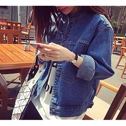 YCMDJ Tasca di nuovo rilassato casual collare giacca jeans manica lunga Denim giacca donna s , picture color , xl