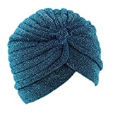 iKulilky Turban Mütze,Kopftuch Chemo,Muslimisches Headwear Kopfbedeckung Turban Sommer Hut für Männer und Frauen - Blauer See