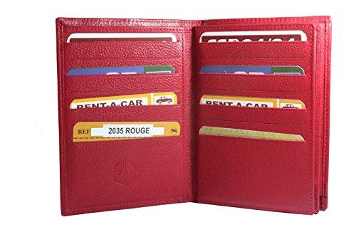 Frédéric&Johns® - Grand portefeuille en cuir de vachette véritable très pratique avec 4 volets - 24 emplacements pour cartes - cuir grainé souple de q...