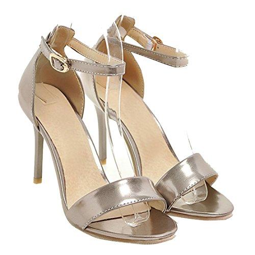 AIYOUMEI Damen Offen Knöchelriemchen High Heel Sandalen mit 10cm Absatz Elegant Abend schuhe Silber