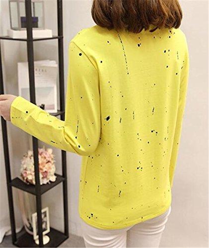 AILIENT Donna Maglietta Manica Lunga Girocollo Allentato Casuale Camicetta T-Shirt Tops Stampa Sweatershirt Maglie Blusa Yellow