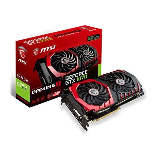 MSI GeForce GTX 1070Gaming X 8GB GDDR51920Core VR bereit Grafikkarte mit Twin Frozr VI PLUS RGB LEDs–Schwarz