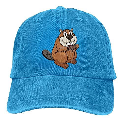 KKAIYA Cartoon Beaver with Wood Unisex Adjustable Baseball Caps Denim Hats Cowboy Sport Outdoor -