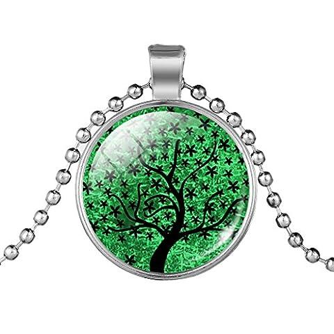 Damen Schwarz Sternenhimmel Sterne Baum Halskette Silber Ton Verbündeter Kette Halskette Grün