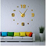Yzdwzs Moderne muet Grande Horloge Murale Bricolage sans Cadre Miroir Miroir muet...