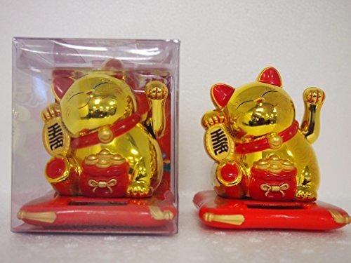 Gatto portafortuna cinese, con zampa mobile, a batteria solare, oro, 12 cm