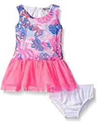 Kensie Baby Print and Solid Dress with Tulle Covered Skirt, Pink, 18 Months