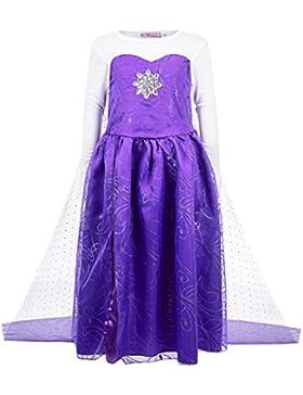 Katara - Costume Vestito da Principessa Elsa di Frozen Disney per Bambine - Abito Viola per Feste a Tema, Carnevali...