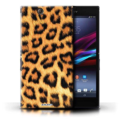 KOBALT® Hülle Case für Sony Xperia Z Ultra | Blau Entwurf | Leopard Tier Haut/Print Kollektion Gelb