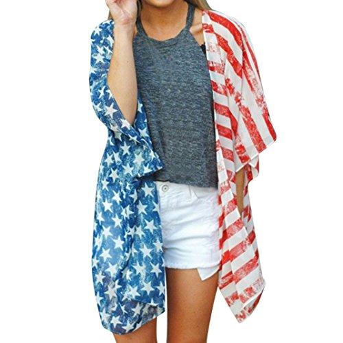 Frauen Cardigan VENMO Frauen Amerikanische Flagge Druck Bluse Lose Langarm Strickjacke Mantel (Asian Size:S, Multicolor) (Cashmere Cardigan Rüschen)