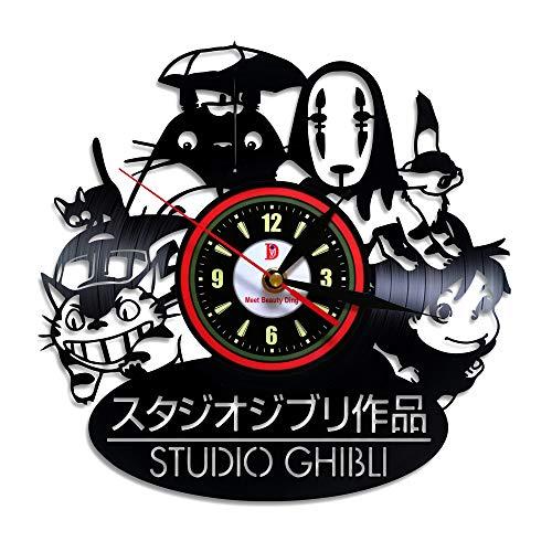 erfüllen Beauty Wow. Studio Ghibli Anime Thema Vinyl Schallplatte Wanduhr Home Decor Kunst-Geschenk Idee Box für Herren Boyfriend