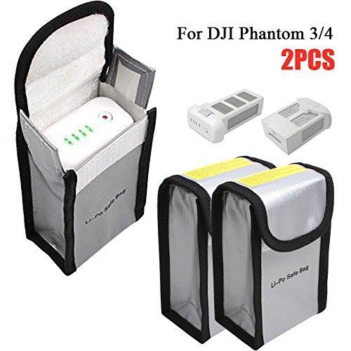 Batterie Sac de Protection Incendie pour DJI Phantom 3/4, RC LiPo Guard Protection de Charge et Stockage Batteries Anti-Explosion Sac en Fibre de Verre, 150x90x55mm, 2 Pièces