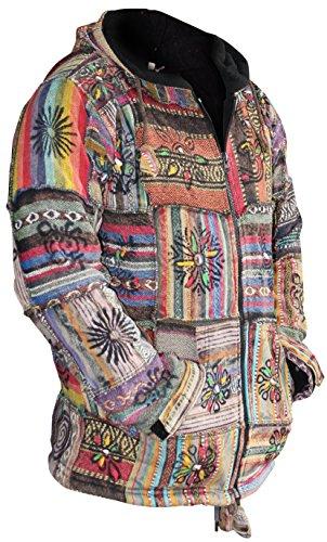 Shopoholic Mode Homme/femme Coton Outstiched Hippie Veste À Capuche Multicolore