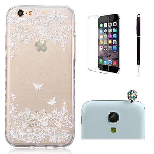 Pheant® [4 in 1] Apple iPhone 6/6S(4.7 pouces) Coque Gel Étui Housse de Protection Transparent Cas avec Verre Trempé Protecteur d'écran Stylet Bouchon Anti-poussière(Papillon) Papillon