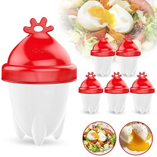 Eierkocher, 6 Stück Eierkocher Hard & Soft Maker mit Eierseparator Multifunktionale Eierhalt Eierbecher Set Antihaft-Silikon FDA ohne Schale
