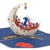 3D Pop Up Happy Anniversary card da un ballo della luna barca al bordo del mondo (Large size) – regali di anniversario per le