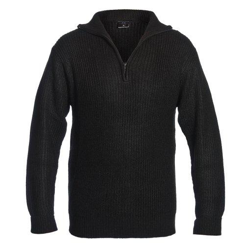 Isländer Pullover, Troyer mit Reißverschluss Schwarz