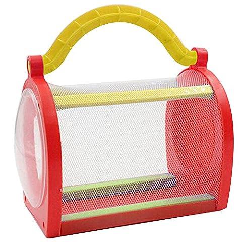Lugii Cube enfants Cigale SilkWorm Glowworm Boîte d'élevage d'insectes Papillon Sauterelle de cricket Mini pour animal domestique Catch Cage, rouge
