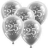10 Latexballons Silberne Hochzeit Zahl 25 Silber 30cm Durchmesser