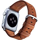 Watch Leather Band 42mm And Screen Protector Included – Matte Brown IWatch Bands For Men And Women From Innoavations, Compatible With Series 1 & 2, Sport, Nike, Edition Or Hermes Apple Watches