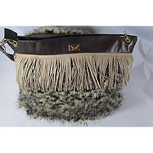 trendige Fell Handtasche kombiniert mit Echtleder