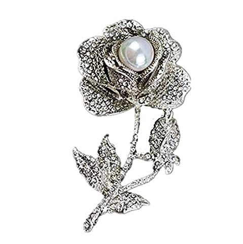 Femme Alliage Broche Pearl Coréen Rose Strass Mode Fleur Banquet Robe Accessoires,White-L