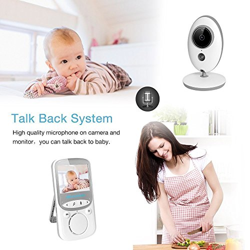 Dulcii 2.4'' Wireless TFT LCD Audio Video Baby Monitor 2.4GHz Digital Baby Temperature Display with Infrared Night Vision Alarm Sensor and Two-way Talk Back System  Dulcii