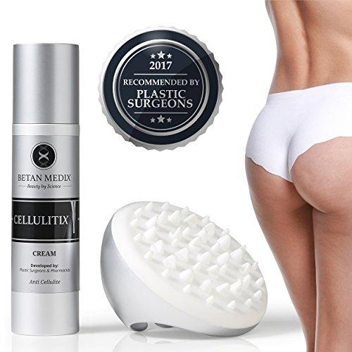 CellulitiX® Innovative 3-1 Formel Anti-Cellulite Creme mit GRATIS Cellulite Massagegerät | Orangenhaut & Dehnungsstreifen bekämpfen – schnell & effektiv | Klinisch getestet und von Experten entwickelt
