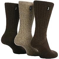 Jeep - 3 pares calcetines lana hombre senderismo caminar en negro y marrón