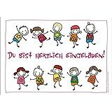 10 lustige Einladungskarten (+ 2 Karten gratis!) schön illustriert mit fröhlichen und tanzenden Kindern zum Kindergeburtstag oder zur Party von ArtUp