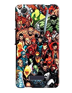 Omnam All Super Heros Painted Pattern Printed Designer Back Cover Case For Micromax Unite 3