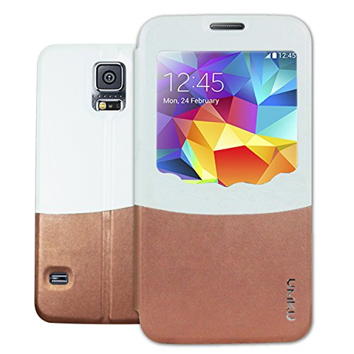Heartly Designed Premium Luxury Pu Leather Flip Bumper Case Cover For Samsung Galaxy S5 i9600 - Brown White  available at amazon for Rs.199