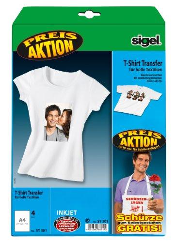 Sigel SY301 Aktion: InkJet-Transfer-Folien für T-Shirts, helle Textilien, DIN A4 (wie IP651), 4 Blatt, mit gratis Grillschürze (Geburtstag Geburtstag Helles T-shirt)