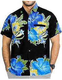 La Leela manchon vers le bas à court bouton floral plage caribbean hawaïen régulière aloha ajustement bleu chemise pour hommes xs - 5xl
