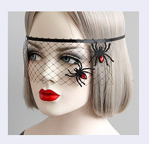 XXF Halloween Maskerade Party Spider Prinzessin Maske Abdeckung Halbe Gesicht Spaß Augenmaske Schleier Zubehör,Schwarz,Wie Gezeigt